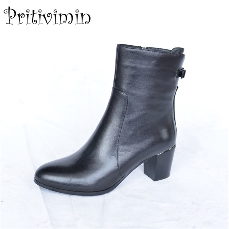 2018 New women winter warm short boots laies plush lined mid calf boot fashion buckle cow leather handmade shoes Pritivimin FN35 double buckle cross straps mid calf boots
