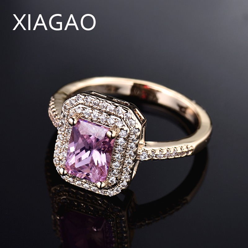 XIAGAO New Arrival Square Pink Rhinestone Gold-color Women Finger Rings Brilliant Small Round Cubic Zircon Lady Jewelry <font><b>R308</b></font> image