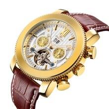 Classic Tourbillon Wrap Mens Watches Top Brand Luxury Automatic Watch Golden Case Calendar Steampunk Men's Mechanical Watch