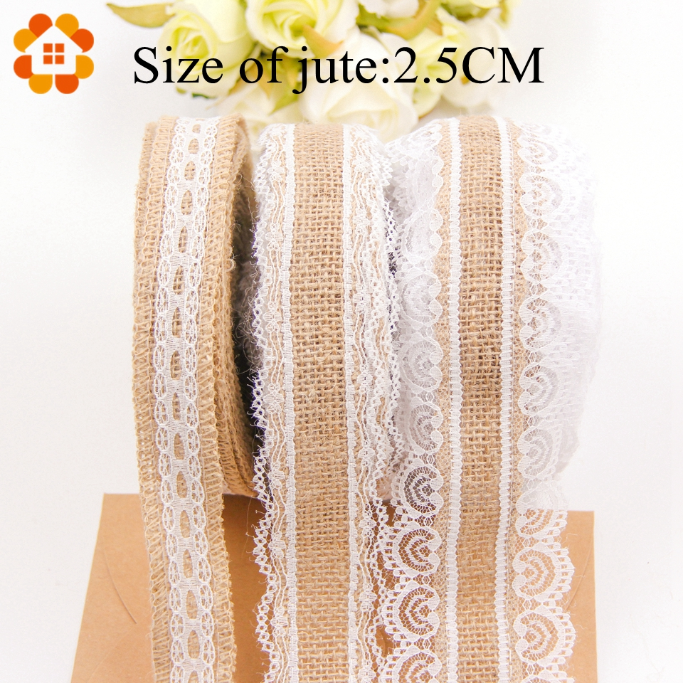 5M 5Styles DIY Jute Cotton Lace Ribbon Sewing Tape Hessian Roll Burlap Trims Tape Vintage Home Birthday Wedding Party Decor