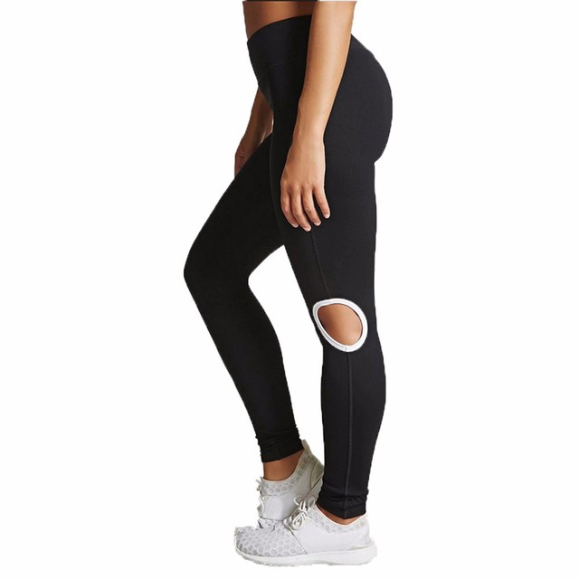 2542b93ed846f2 Women's Knee Hollow Yoga Pants High Quality Sexy Solid Color Workout  Leggings Fitness Sports Gym Running Yoga Athletic Pants
