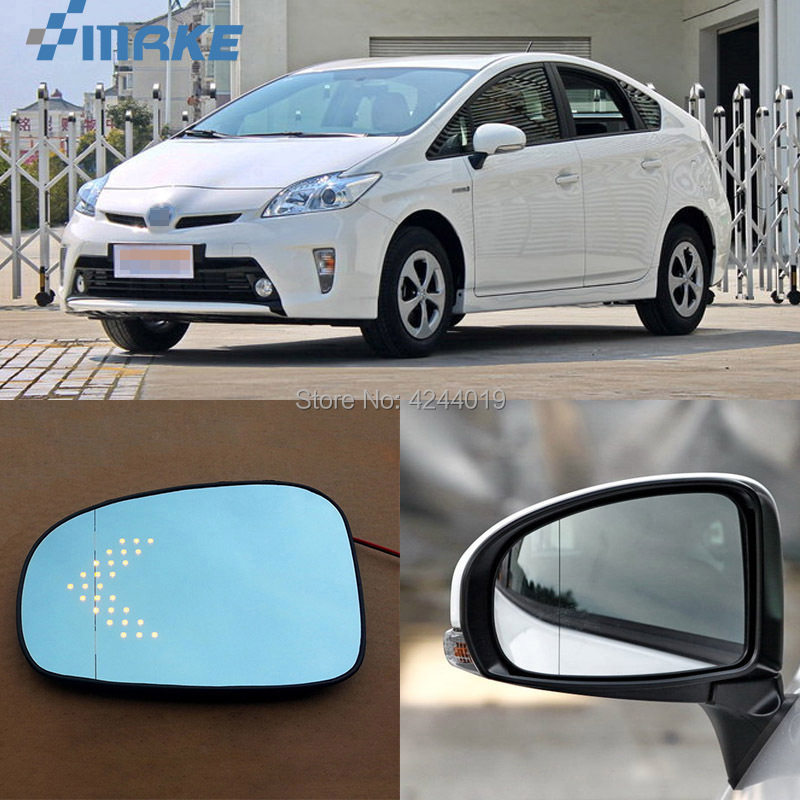 smRKE For Toyota Prius Car Rearview Mirror Wide Angle Hyperbola Blue Mirror Arrow LED Turning Signal Lights