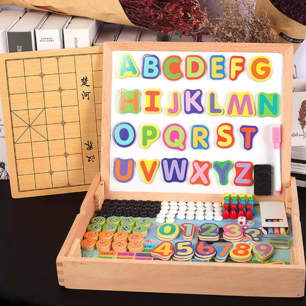 Creative magnétique dessin tableau d'écriture Sketchpad cadeau enfants Intelligence éducation jouet Puzzle Double chevalet enfant en bois jouet - 2