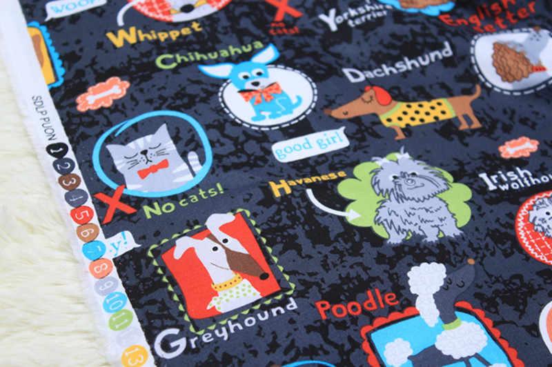 1 метр 100% хлопчатобумажная простая ткань с принтом маленькой кошки собаки, ручная работа пэтчворк одежды куклы ткань CR-588