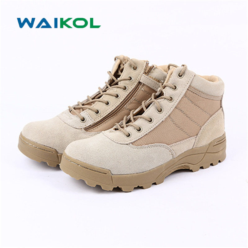 Waikol Outdoor Mens Leather Army Ankle Boots Autumn Winter Military Tactical Boots Round Toe Men Desert Combat Boots