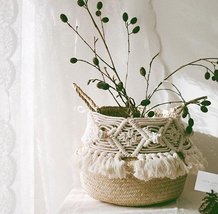Handmade Bohemian Tassel Decoration Wicker Basket Garden Flower Pot Study Room Storage Rattan Basket Home Organizer
