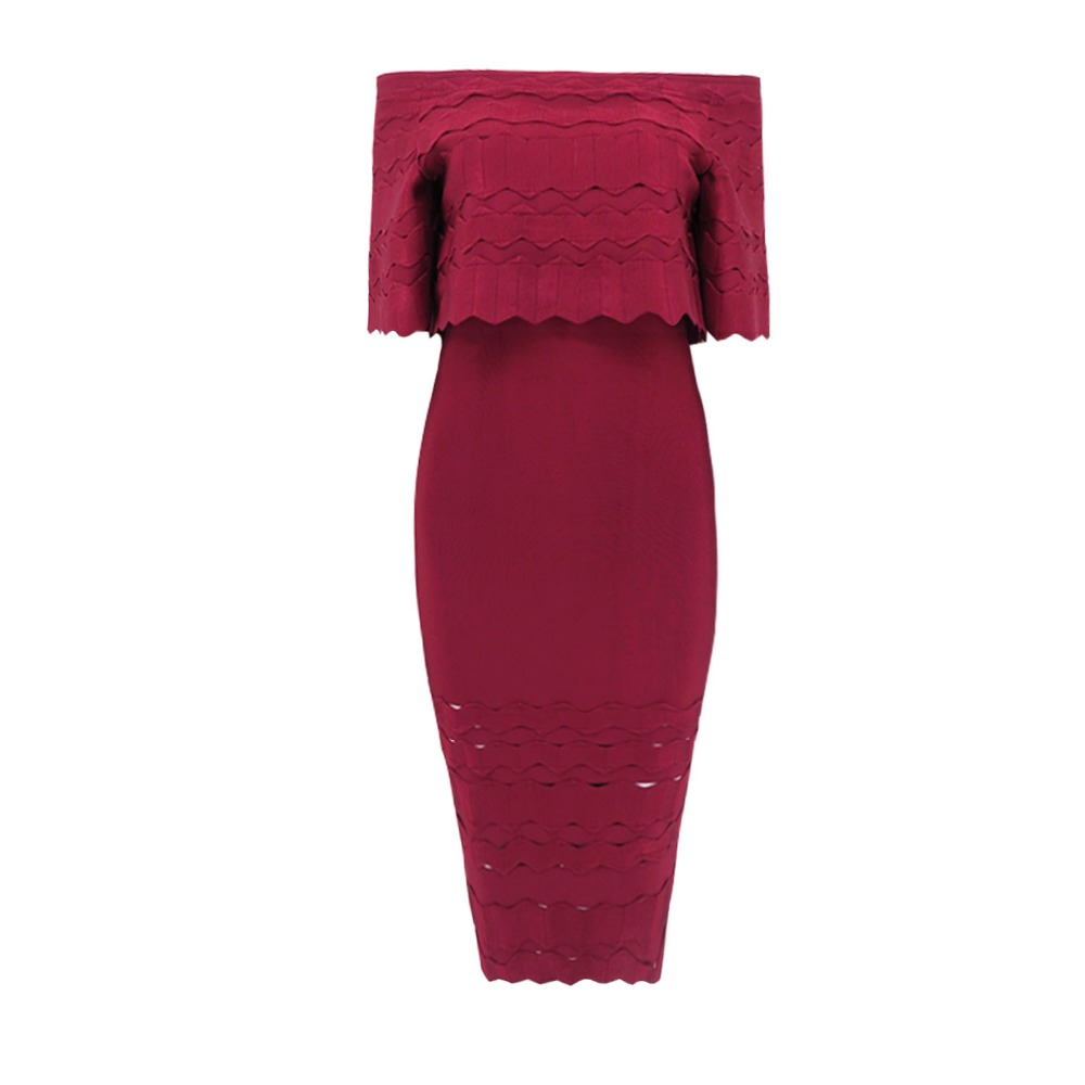 Jacquard L'épaule Mode Celebrity D'été Hors Longue Chic Élégant Bourgogne Automne Party Robe Nouveau Festa Bandage De Robes 2018 6UqwYCPFF