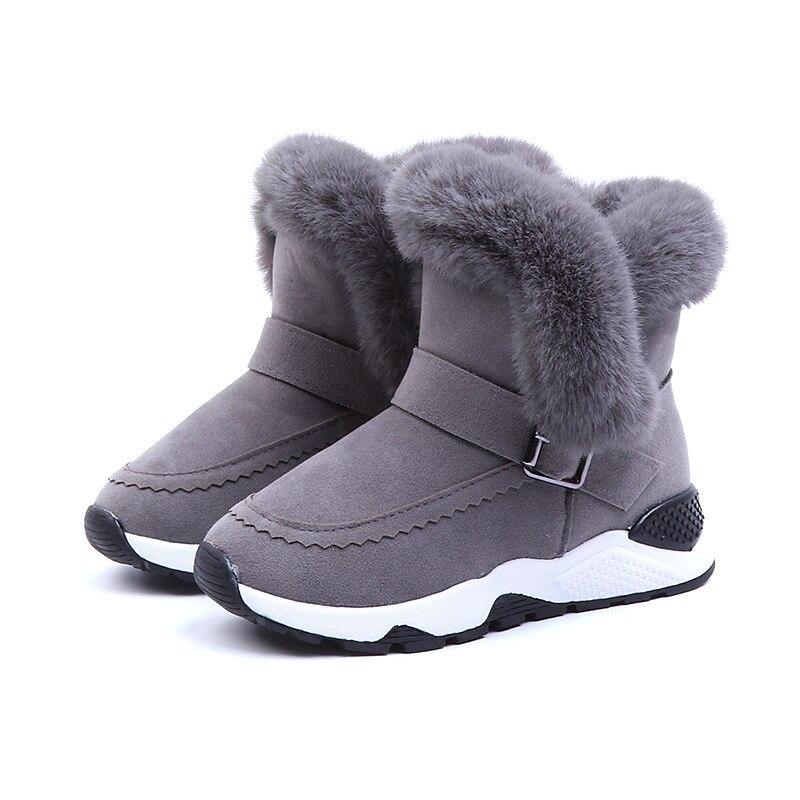 ULKNN Girls Warm Non-slip Winter Kid's Snow Boots 26 27 28 29 30 31 Size Black Pink Middle Tube Velvet Cotton Shoes Boys