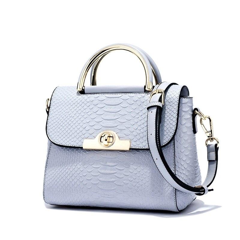 DOODOO Women Genuine Leather Handbags Patent Famous Brands Designer Handbags High Quality Tote Bag Crossbody Crocodile