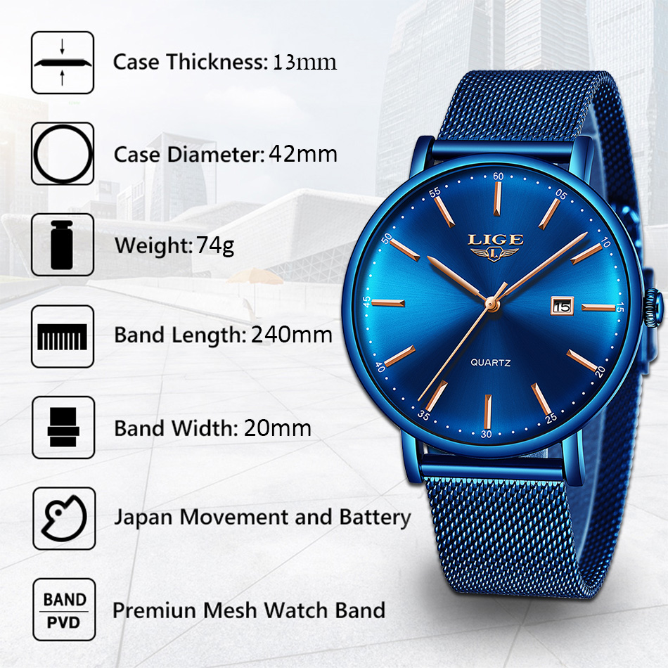 Купить lige мужские часы лучший бренд класса люкс спортивные ультратонкие