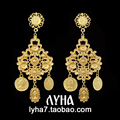 9.3cm gold Exaggerated Baroque Earrings Temperament Retro Metal Coins Exquisite Flower Drop Earrings For Women 1pair/lot
