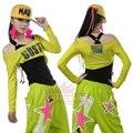 Новая Мода Марка хип-хоп топ танец женщины Джаз износ производительности костюм twinset Сексуальное вскользь косой искусственного двух частей футболка