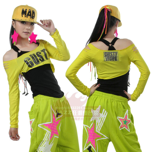 11cc7d4fc New Fashion Brand hip hop top dance female Jazz costume performance wear  twinset Sexy casual oblique