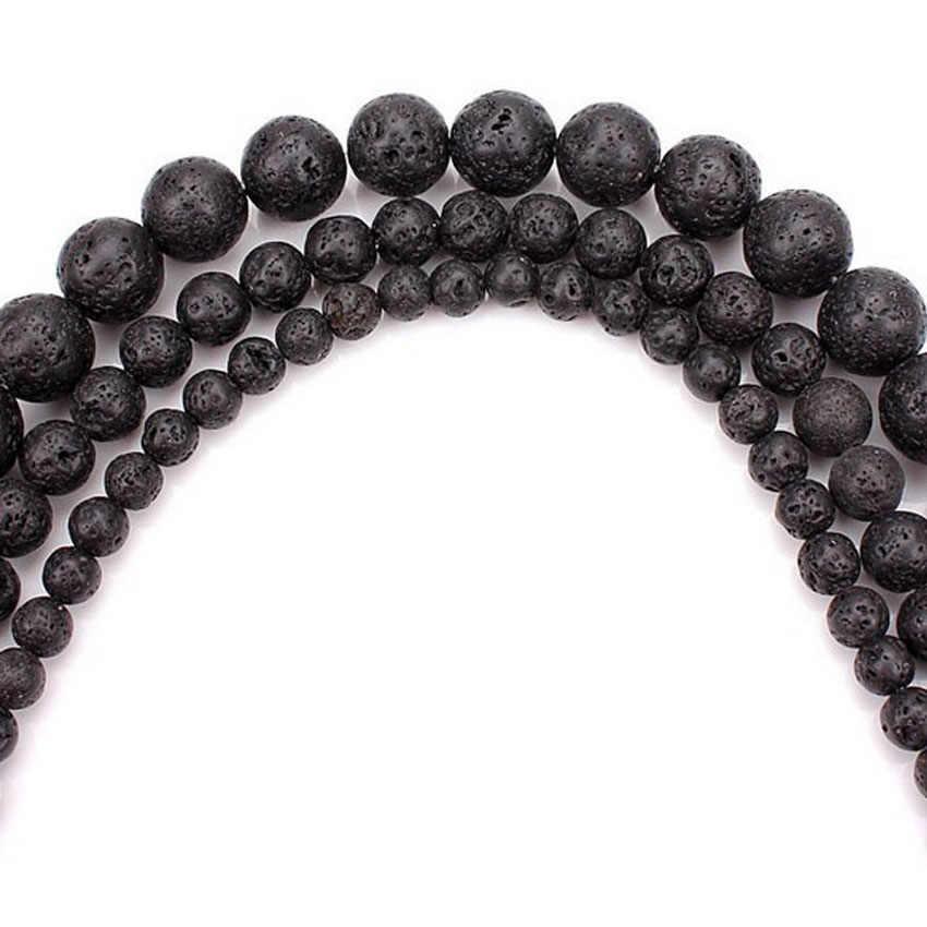 """Kamień wulkaniczny hurtownie 4 6 8 10 12 mm Pick rozmiar czarny kamień wulkaniczny okrągły syntetyczny koraliki z lawy wulkanicznej barwione 15"""" DIY biżuteria"""