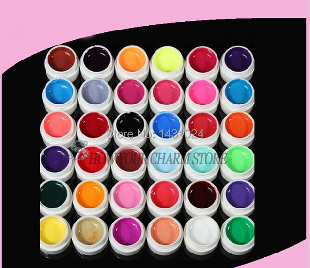 wholesale price New New 36 Colors Nail art Solid Color UV GEL Pure Colorful Nail Gel 5g/bottle Nail Gel UV gel set