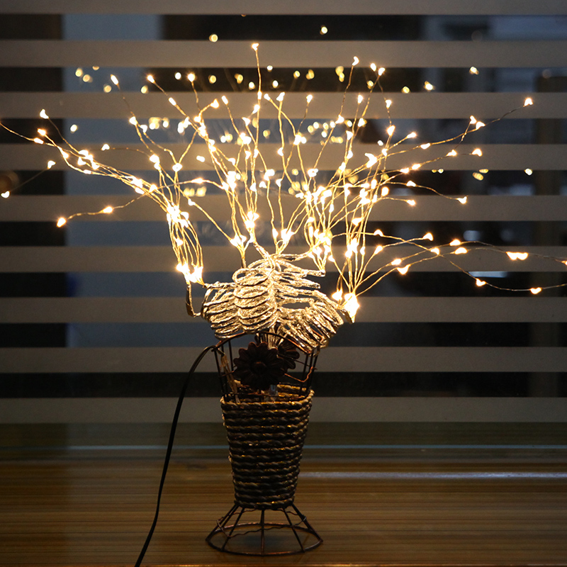 copper led tree branch string light night lights table lamp christmas fairy wedding room indoor lighting decoration luminarias
