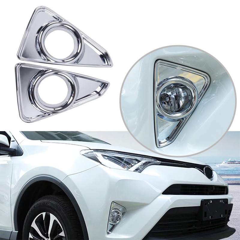 JEAZEA 2Pcs Chrome Front Head Fog Light Lamp Cover Trim Foglight Molding Garnish Frame For Toyota RAV4 <font><b>RAV</b></font> <font><b>4</b></font> 2016 2017 <font><b>2018</b></font> image