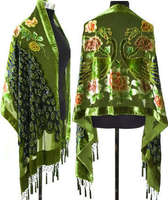 Green Chinese National Trends Women Pashmina Scarves 100% Silk Velvet Shawl Embroidery Peacock Scarf Tassels Muffler WS026