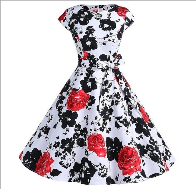 La MaxZa 2019 femmes d'été imprimer robe robes largos de verano casual vintage vêtements parti robes Élégant Tunique rouge dot robe - 4