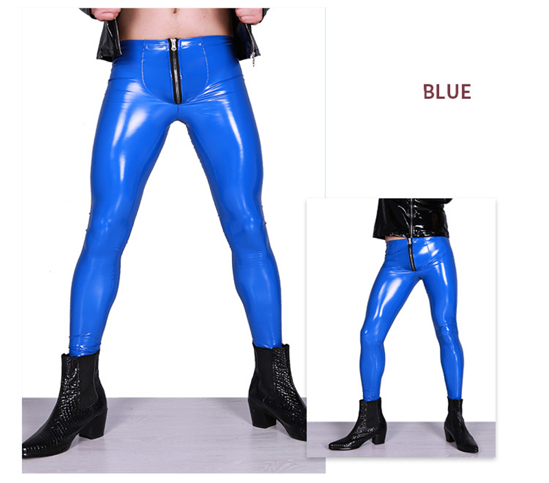 Mens Sexy PU Leather Extoic Bright Elastic Tight Adult Gay Man Glossy Pants