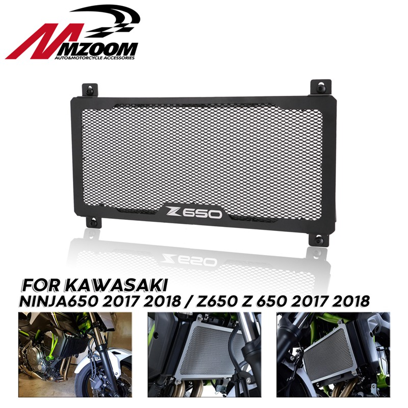 BLACK Motorcycle Radiator Guard Grille Oil Cooler Cover Street Bike Racing For <font><b>KAWASAKI</b></font> Z650 NINJA650 <font><b>NINJA</b></font> <font><b>650</b></font> 2017 2018 image