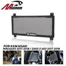 SCHWARZ Motorrad Heizkörper Schutz Grille Öl Kühler Abdeckung Bike Racing Für KAWASAKI Z650 NINJA650 NINJA 650 2017 2018