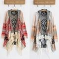 2016 Primavera Cardigan de Malha Do Inverno Do Vintage 70 s Tarja Geométrica Cortina Tassel Boho Hippie Gypsy Sweater Jacket Frete Grátis