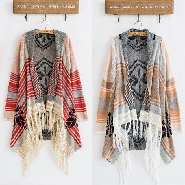 2016 Spring Winter Vintage 70s Cardigan Knit Stripe Gypsy Geometric Drape Hippie Tassel Boho Sweater Jacket Free Shipping
