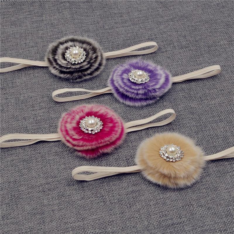 NEW handmade  Baby Girls Plush  furry fur Headband  Flower Hairband Infant Hair Weave Band kids  Accessories Gifts  Stock 10pcs lot small flower baby kids hair