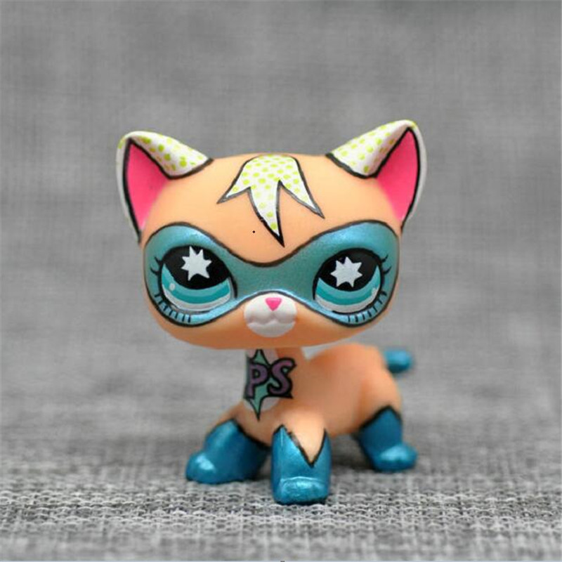 lps cat pet shop toys standing short hair cat super hero masked kitty animal Rare old original kitten christmas gifts cute pet rare color sausage short hair dog action figure girl s collection classic anime christmas gift lps doll kids toys