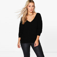 Loose Sweater Women Knit V Neck Wool Plus Size Vintage Jumper Pearl Sweater Female Pull Noel