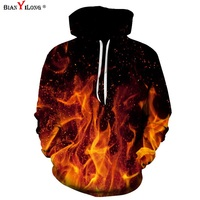 BIANYILONG Brand Autumn Winter Stylish Men Women 3d Hoodies Sweatshirts With Hat Print Fire Space Galaxy