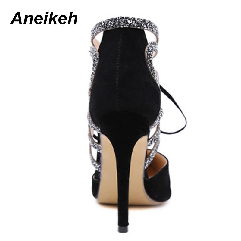 Tacón Imitación De Mujer Con Diamantes Para Sexy Mariposa Bling 2019 Fino Aneikeh Black Gladiador Verano Puntiagudos Alto Fiesta Zapatos nqECYxwH7