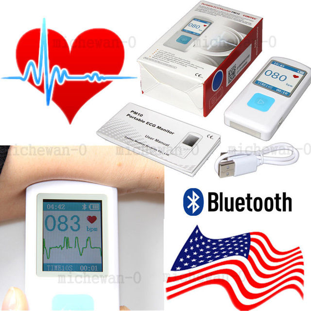 US $75 05 5% OFF|Rechargable Portable ECG Monitor PM10 Bluetooth Mobile App  ECG Detector, CONTEC US-in Blood Pressure from Beauty & Health on