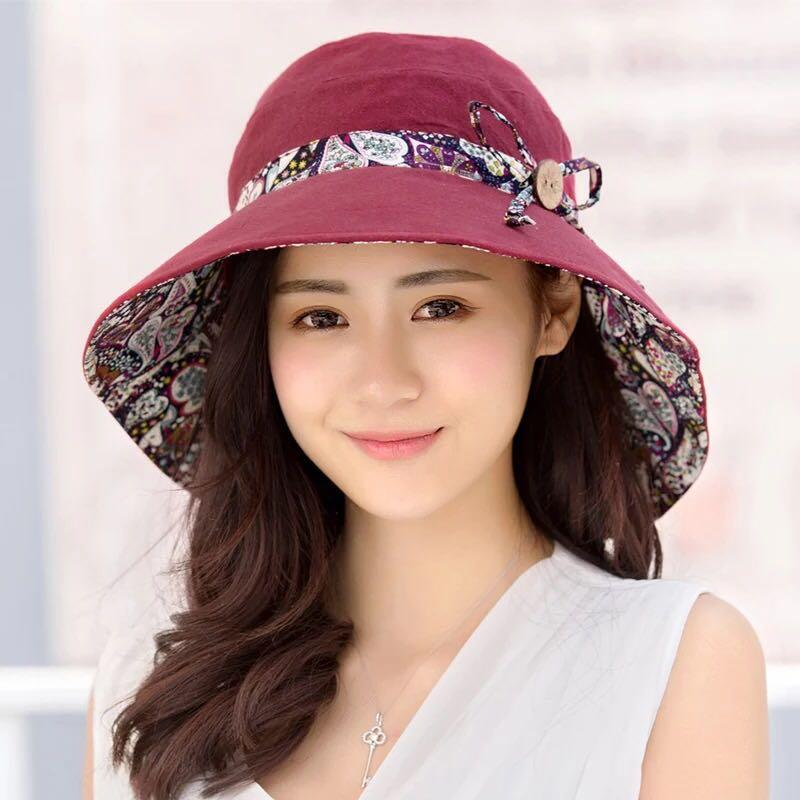 Summer Women's Super Big Brim Sun Hat Fashion Hat Printing Hat UV Protection Wind Rope Fixed Beach Hat Foldable