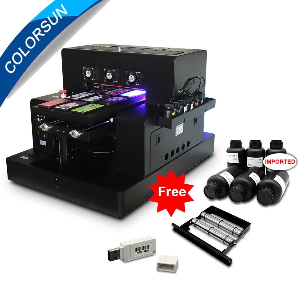 Colorsun nouveau imprimante uv LED A3 automatique (280*500mm) pour coque de téléphone cylindre bois verre impression avec CE avec logiciel RIP 9.0