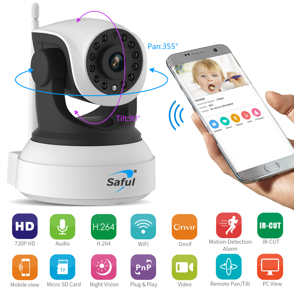 Saful IP Camera 720P HD Wireless Wi-Fi Night Vision Surveillance Camera P2P Security CCTV Network Baby Monitor Two Way Intercom robot camera wifi 960p 1 3mp hd wireless ip camera ptz two way audio p2p indoor night vision wi fi network baby monitor security