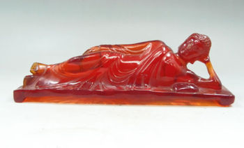 Exquisite Old Collectibles Decorated Artificial Amber Resin lifelike Sleeping Buddha Statue