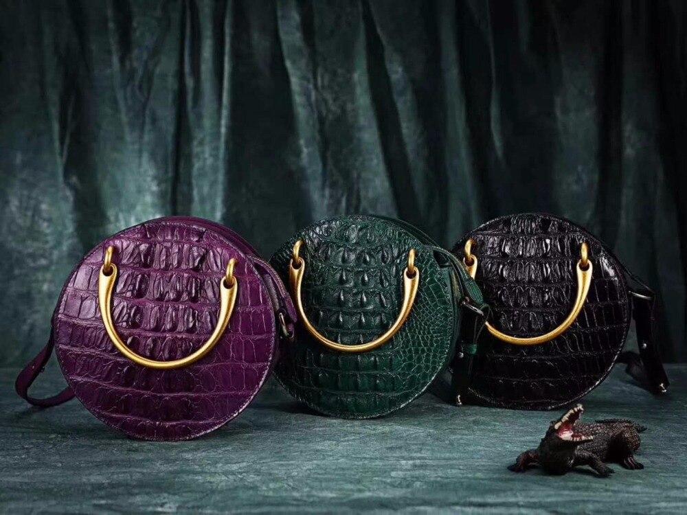 100 Design Doppel Griffe Krokodilleder Kreis Metall Mit Gold Bag Tasche Neueste Form Echt Runde Dame echte 2018 Shouder wx1SqE4