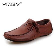PINSV/кожаная обувь; мужские лоферы; мокасины; мужские кроссовки; повседневная обувь для вождения; мужская обувь на плоской подошве; Цвет Черный; Sapato Masculino; размеры 38-47