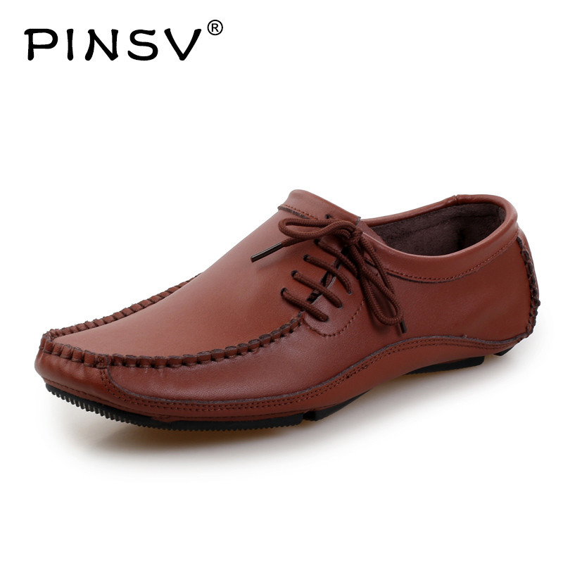 PINSV Leather Shoes Men Loafers Moccasins Men Sneakers Casual Driving Shoes Men Flats Black Sapato Masculino Size 38-47 autumn winter new loafers cow leather oxfords handmade casual shoes men flats shoes men high quality moccasins sapato masculino