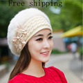 New Design Hot Sale Warm And Cute Princess Rabbit Hat Female Winter Knitted Beret Hat With Flower Women's Rabbit Fur Berets