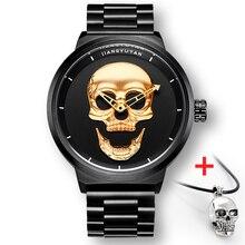 2018 Hot Pirate Punk 3D Skull Men Watch Brand Luxury Steel Quartz Male Watches Retro Fashion Gold Black Clock montre homme 2018