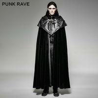 New Fashion Vintage Black Rock Steam punk Gothic style hoodie cape long coat Jacket Y693