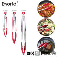 Eworld New Silicone Kitchen Cooking Salad Serving BBQ Bread Tongs High temperature resistance Stainless Steel Handle Utensil