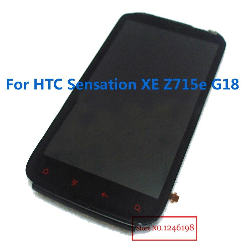 Negro pantalla LCD de pantalla táctil digitalizador asamblea con marco para HTC