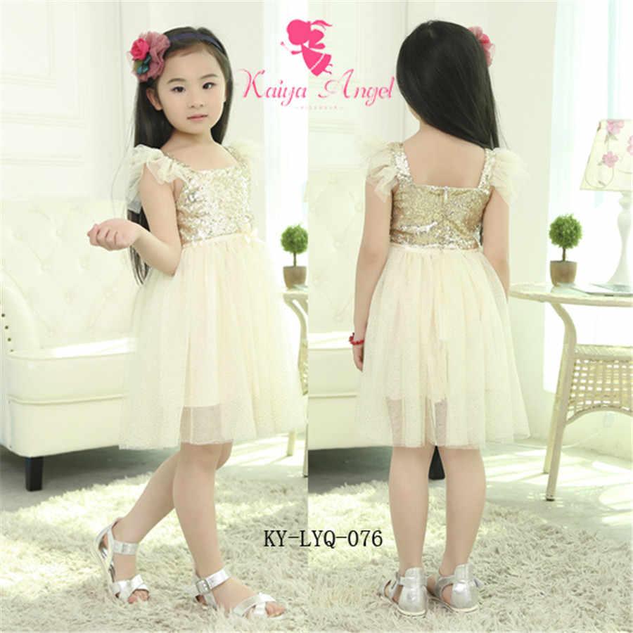 Kaiya ange bambin fille élégant été anniversaire mariage fête vêtements bleu blanc or paillettes Tulle maille princesse automne robe
