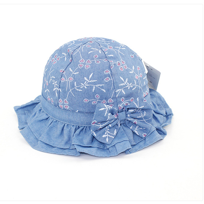 2018 Spring Baby Girls Denim Cotton Sun Hats Sunscreen with Brim Kids Breathable Bucket Hats Summer Caps Hiking Travling Gorro