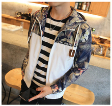 Men Floral Bomber Hooded Hip Hop Men Slim Fit Jacket Coat