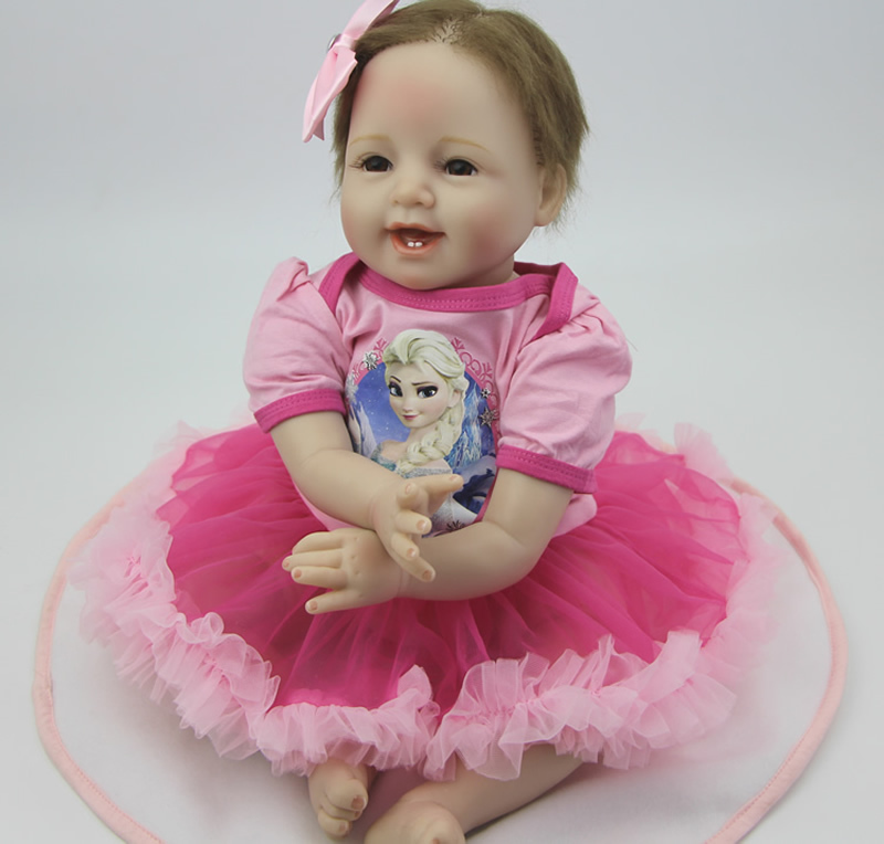 NPK Collection 22 Inch Reborn Babies Doll Silicone Lifelike Newborn Baby Dolls Princess Girl Kids Birthday Xmas Gift can sit and lie 22 inch reborn baby doll realistic lifelike silicone newborn babies with pink dress kids birthday christmas gift